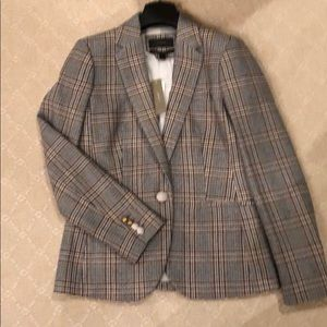 NWT J Crew Plaid Wool Blazer w/Gold Buttons  4